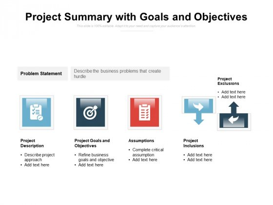 Project Summary With Goals And Objectives Ppt PowerPoint Presentation Styles Brochure PDF