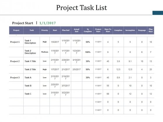 Project Task List Template 1 Ppt PowerPoint Presentation Gallery Styles