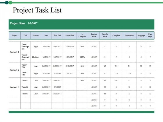 Project Task List Template 1 Ppt PowerPoint Presentation Pictures Inspiration