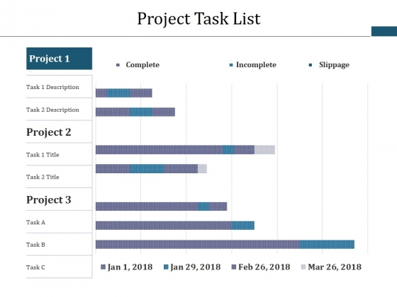 project task list template 2 ppt powerpoint presentation