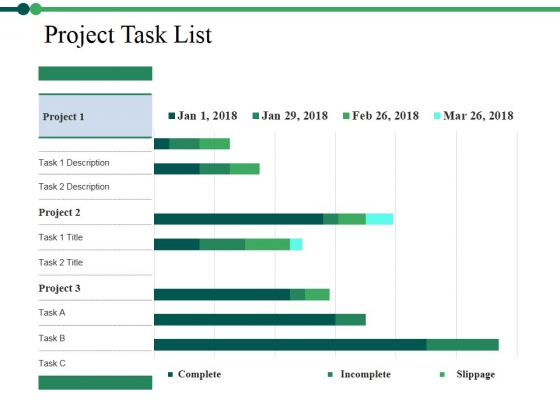 Project Task List Template 2 Ppt PowerPoint Presentation Inspiration Designs