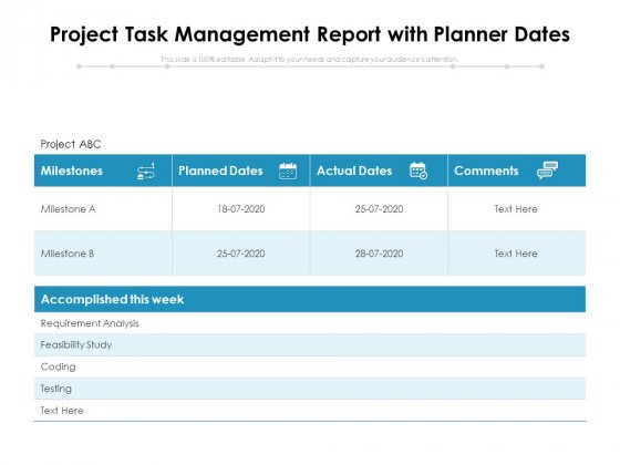 Project_Task_Management_Report_With_Planner_Dates_Ppt_PowerPoint_Presentation_Icon_Slide_Download_PDF_Slide_1
