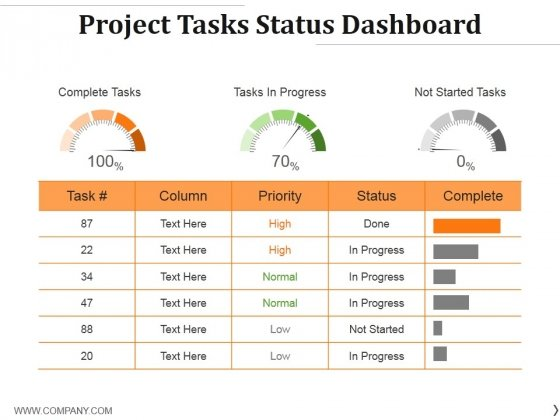Project Tasks Status Dashboard Ppt PowerPoint Presentation Professional Pictures