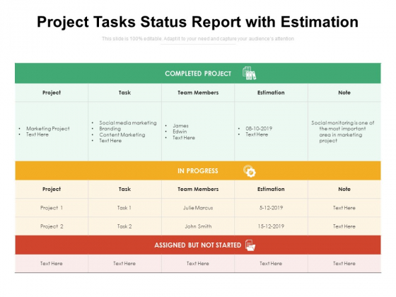 Project Tasks Status Report With Estimation Ppt PowerPoint Presentation Summary Designs Download PDF
