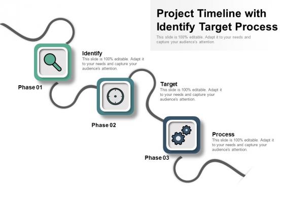 Project Timeline With Identify Target Process Ppt PowerPoint Presentation Portfolio Slide Portrait PDF