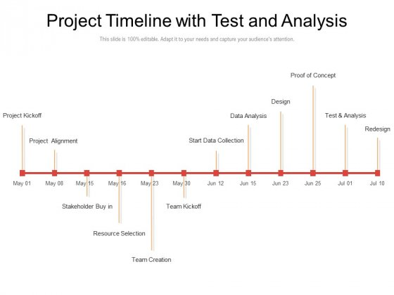 Project Timeline With Test And Analysis Ppt PowerPoint Presentation Inspiration Master Slide PDF