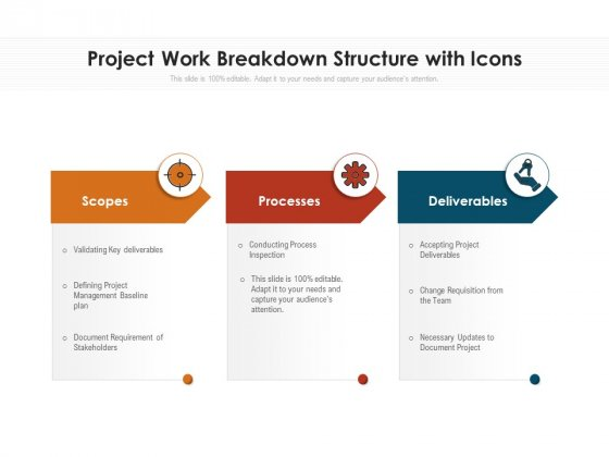 Project Work Breakdown Structure With Icons Ppt PowerPoint Presentation Infographics Graphics Example PDF