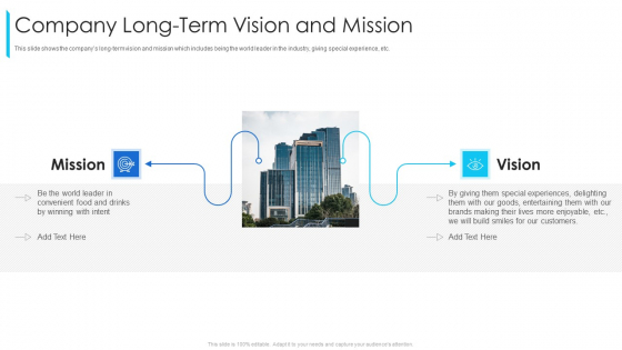 Promoting Selling Franchise Development Company Long Term Vision And Mission Summary PDF