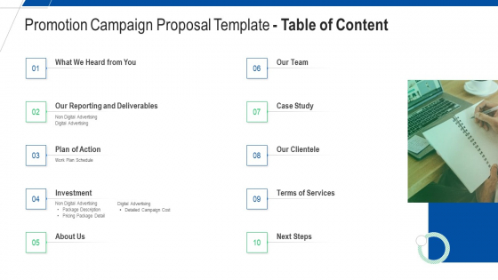 Promotion Campaign Proposal Template Table Of Content Ppt Model Graphics Pictures PDF