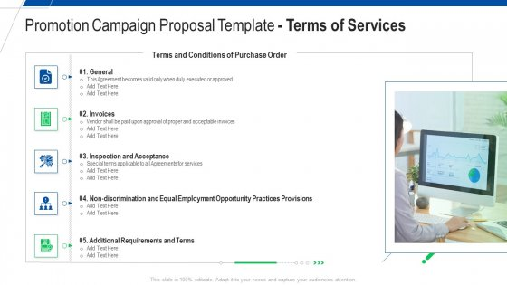 Promotion Campaign Proposal Template Terms Of Services Ppt Professional Graphic Tips PDF