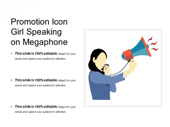 Promotion Icon Girl Speaking On Megaphone Ppt PowerPoint Presentation Professional Introduction PDF
