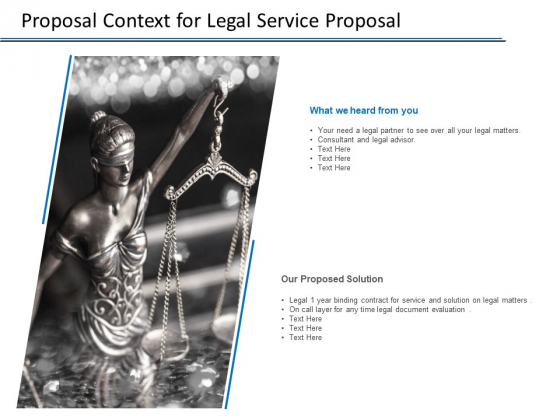 Proposal Context For Legal Service Proposal Ppt PowerPoint Presentation Introduction