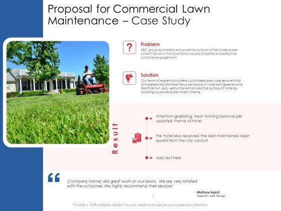 Proposal For Commercial Lawn Maintenance Case Study Ppt Portfolio Vector PDF