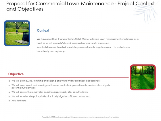 Proposal For Commercial Lawn Maintenance Project Context And Objectives Ppt Portfolio Microsoft PDF