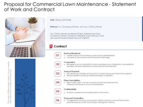 Proposal For Commercial Lawn Maintenance Statement Of Work And Contract Ppt Summary Show PDF