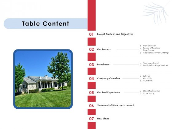 Proposal For Commercial Lawn Maintenance Table Content Ppt File Inspiration PDF