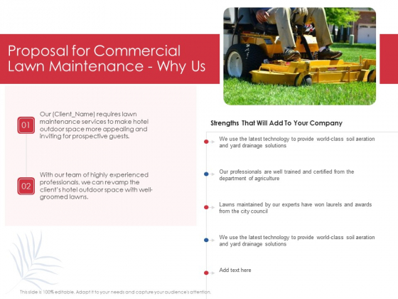 Proposal For Commercial Lawn Maintenance Why Us Ppt Portfolio Vector PDF