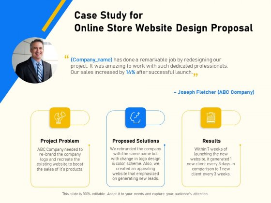 Proposal For Ecommerce Website Development Case Study For Online Store Website Design Proposal Ideas PDF