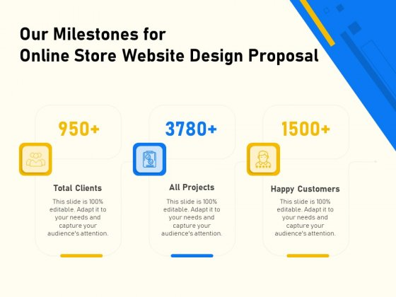 Proposal For Ecommerce Website Development Our Milestones For Online Store Website Design Proposal Graphics PDF
