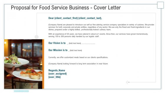 Proposal For Food Service Business Cover Letter Ppt Layouts Graphic Tips PDF