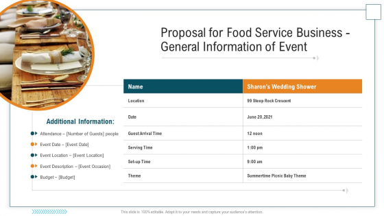 Proposal For Food Service Business General Information Of Event Graphics PDF