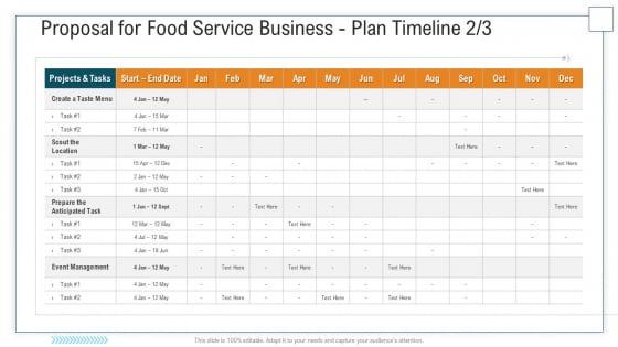 Proposal For Food Service Business Plan Timeline May Ppt Outline Slide PDF