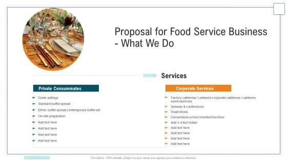 Proposal For Food Service Business What We Do Ppt Show Layout Ideas PDF