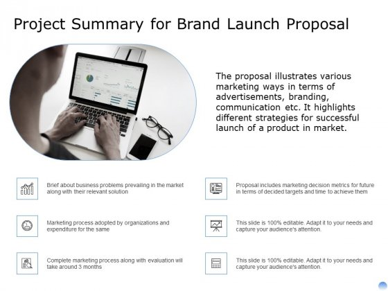 Proposal To Brand Company Professional Services Project Summary For Brand Launch Proposal Background PDF
