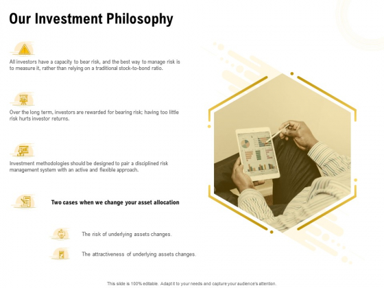 Proposal To Provide Financial Advisory And Bond Our Investment Philosophy Ideas PDF