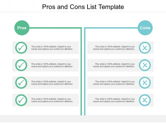 Pros And Cons List Template Ppt PowerPoint Presentation Slides Vector