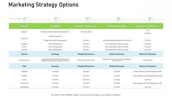Proven Ways Of Quickly Growing A Small Business Marketing Strategy Options Ppt Portfolio Visuals PDF