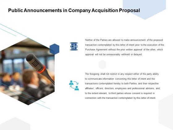 Public Announcements In Company Acquisition Proposal Ppt PowerPoint Presentation Professional Slides