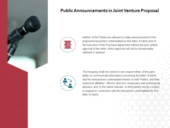 Public Announcements In Joint Venture Proposal Ppt PowerPoint Presentation Summary Brochure