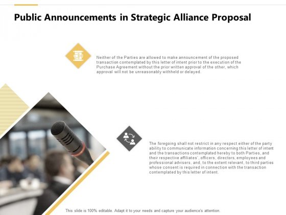 Public Announcements In Strategic Alliance Proposal Ppt PowerPoint Presentation Show Designs Download