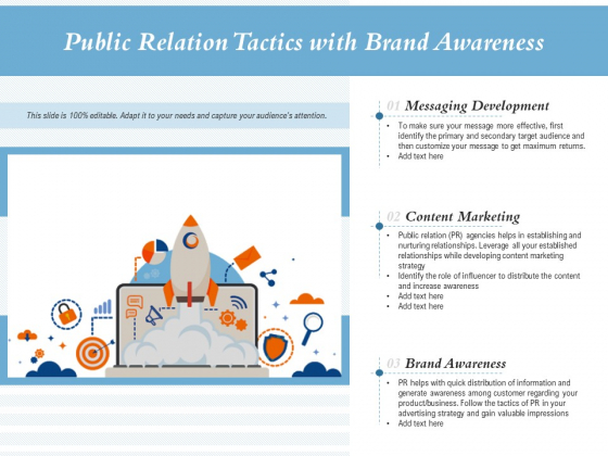 Public Relation Tactics With Brand Awareness Ppt PowerPoint Presentation Gallery Clipart Images PDF