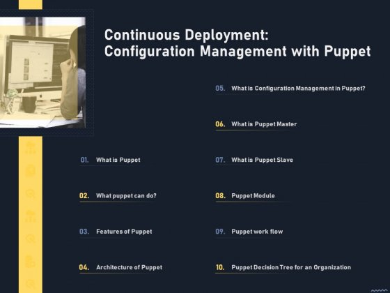 Puppet Tool For Server Continuous Deployment Configuration Management With Puppet Background PDF