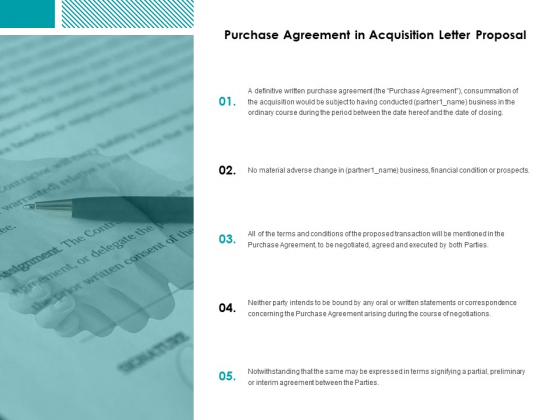 Purchase Agreement In Acquisition Letter Proposal Ppt Powerpoint Presentation Slides Visual Aids