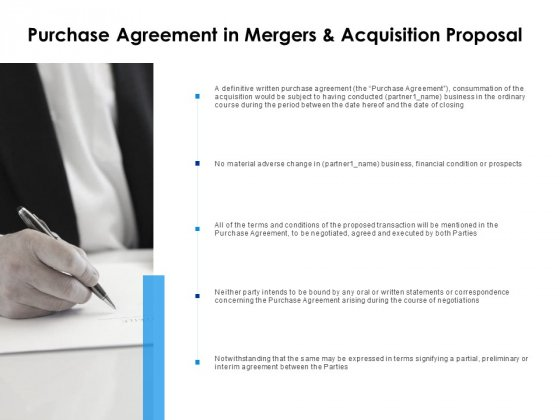 Purchase Agreement In Mergers And Acquisition Proposal Ppt PowerPoint Presentation Gallery Slide Download