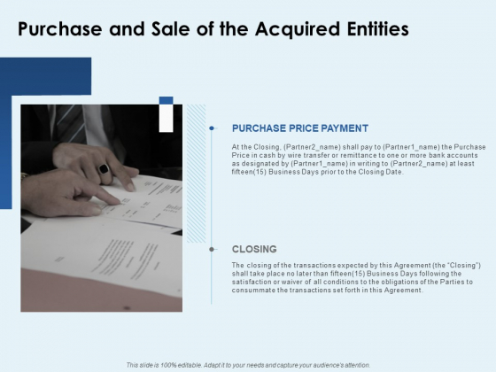 Purchase And Sale Of The Acquired Entities Ppt PowerPoint Presentation Ideas Example Introduction