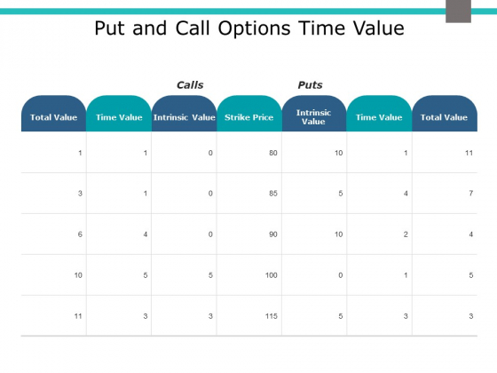 Put And Call Options Time Value Ppt PowerPoint Presentation Infographics Microsoft