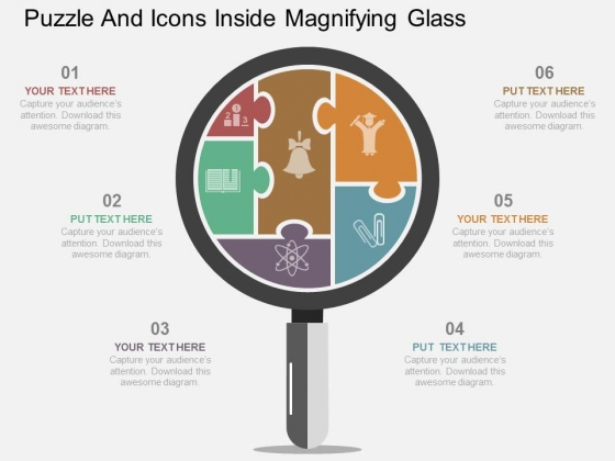 Puzzle And Icons Inside Magnifying Glass Powerpoint Template