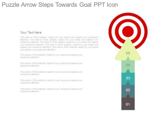Puzzle Arrow Steps Towards Goal Ppt Icon