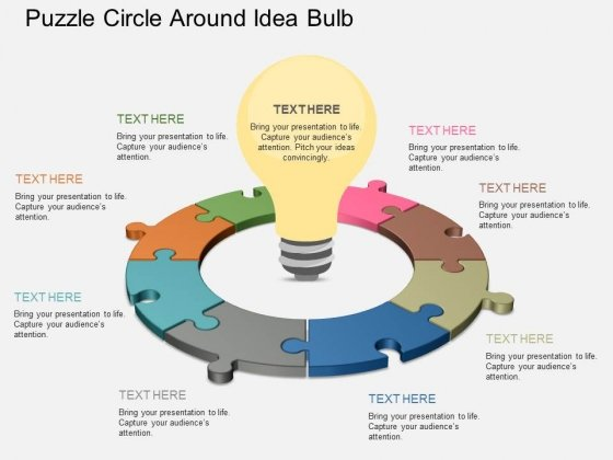 Puzzle Circle Around Idea Bulb Powerpoint Template