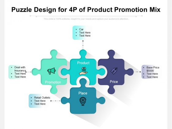 Puzzle Design For 4P Of Product Promotion Mix Ppt PowerPoint Presentation Slides PDF