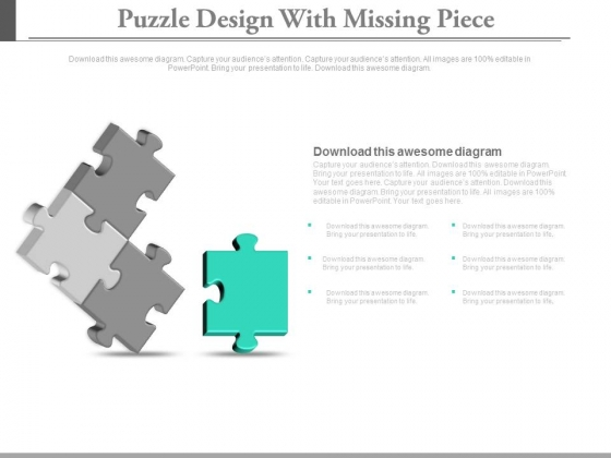 Puzzle Design With Missing Piece Powerpoint Slides