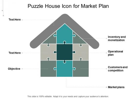 Puzzle House Icon For Market Plan Ppt PowerPoint Presentation Gallery Portfolio