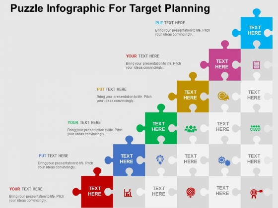Puzzle Infographic For Target Planning PowerPoint Templates