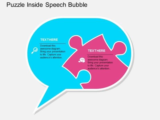 Puzzle Inside Speech Bubble Powerpoint Templates