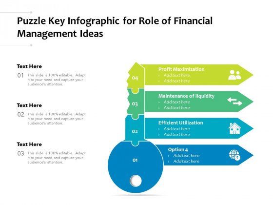 Puzzle Key Infographic For Role Of Financial Management Ideas Ppt PowerPoint Presentation Professional Example PDF