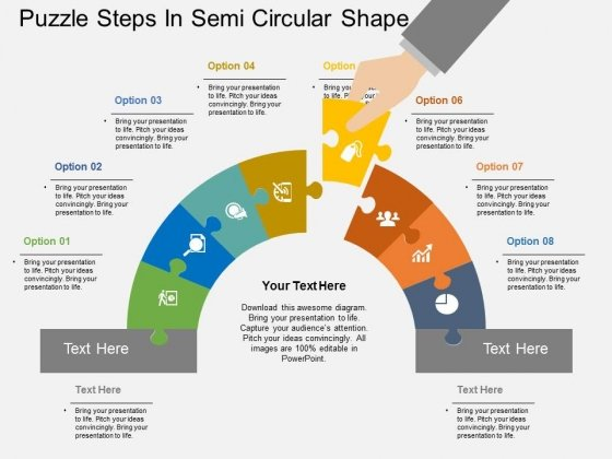 Puzzle Steps In Semi Circular Shape Powerpoint Template Powerpoint